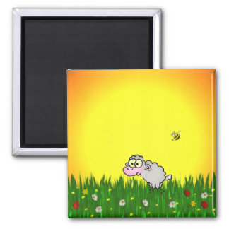 Field Sheep Square Magnet