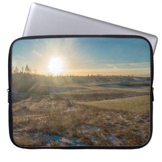 Field winter sunset laptop sleeve