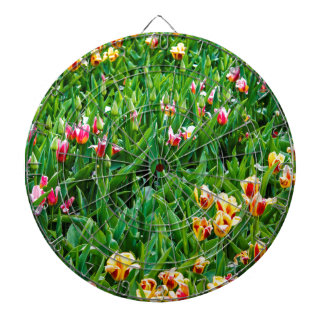 Field with Pink and Yellow Tulips Dartboard