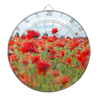 Field with red papavers dartboard