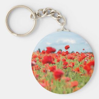 Field with red papavers key ring
