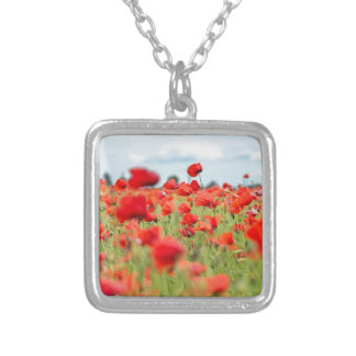 Field with red papavers silver plated necklace