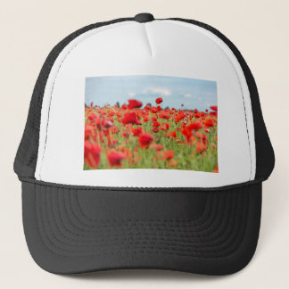 Field with red papavers trucker hat