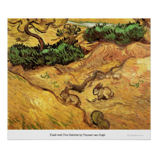 Field with Two Rabbits by Vincent van Gogh Poster