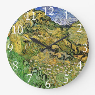 Field with Wheat Stacks Round Wall Clocks