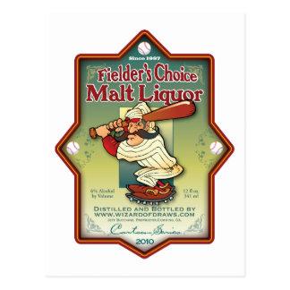 Fielder's Choice Malt Liquor Postcard