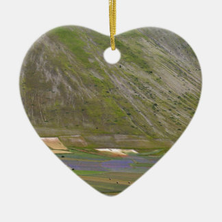 Fields in the Sibellini Mountains in Italy Ceramic Heart Decoration