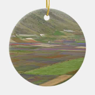 Fields in the Sibellini Mountains in Italy Round Ceramic Decoration