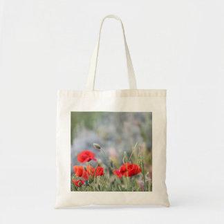 fields of poppy budget tote bag