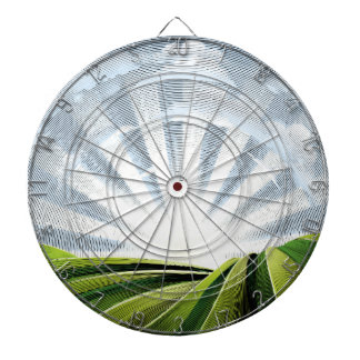 Fields Rolling Hills and Sun Engraved Etching Dartboard