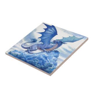 Fierce Blue Dragon Small Square Tile