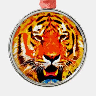 Fierce Bright Orange Siberian Tiger Metal Ornament