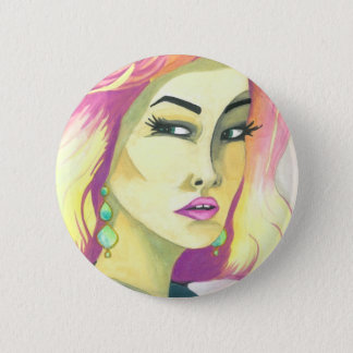 """Fierce"" Crystal Cross Watercolors 6 Cm Round Badge"