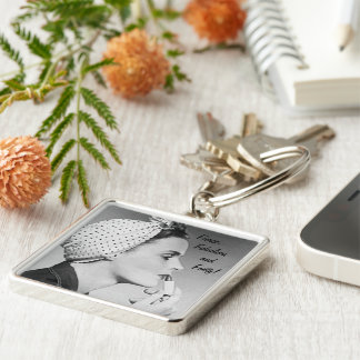 Fierce, Fabulous and Forty Silver-Colored Square Key Ring