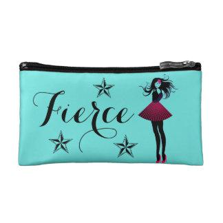 Fierce Female Teal Stars Cosmetic Bag