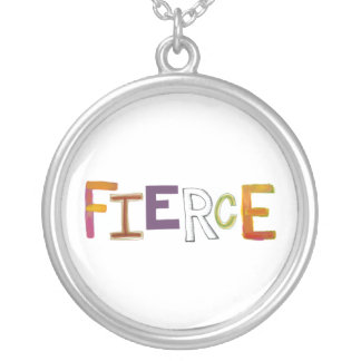 Fierce fun colorful art words strong bold brave silver plated necklace