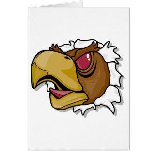 fierce hawk bird breaking through greeting card