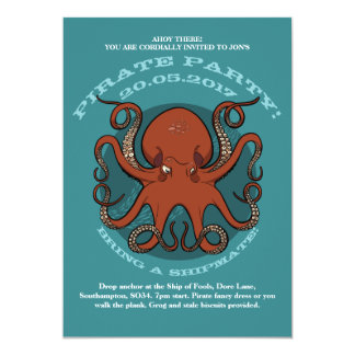 Fierce Red Octopus Tentacles Cartoon With Text Card