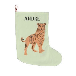 Fierce Tiger Personalized Large Christmas Stocking