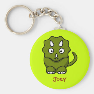 Fierce triceratops basic round button key ring