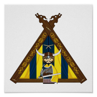 Fierce Vikings and Tent Framed Print