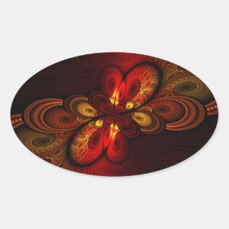 Fieri Abstract Fractal Art Oval Sticker