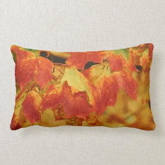 Fiery Autumn Maple Leaves Flaming Red Leaf Lumbar Cushion