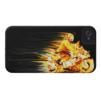 Fiery Biker Motorcycle Fantasy Art iPhone 4 Cover