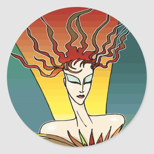 Fiery Bird Woman Round Sticker