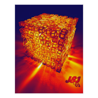 fiery cubes poster