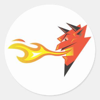 Fiery Devil's Head decal Round Sticker