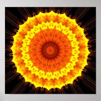 Fiery Flower Mandala Poster