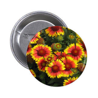 Fiery Flowers Floral Button Pin