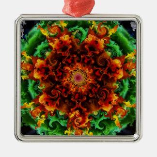 Fiery Garden Silver-Colored Square Decoration