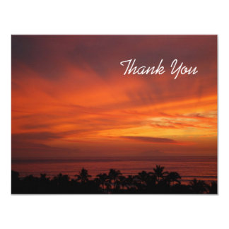 Fiery Hawaiian Sunset Thank You Card 11 Cm X 14 Cm Invitation Card