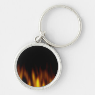Fiery Hot Flames Backdrop Silver-Colored Round Key Ring