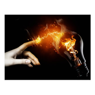 Fiery Lightbulb and Hand Photography Postcard