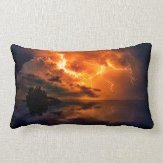 Fiery Lightning pillow, Lightning over lake, storm Lumbar Cushion