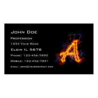 Fiery Monogram A Business Card
