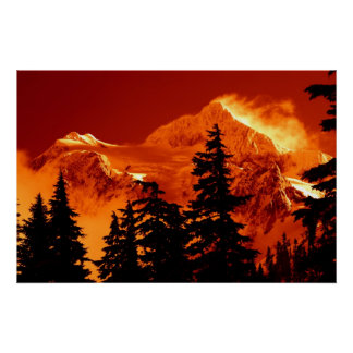 Fiery Mountain Scene Poster