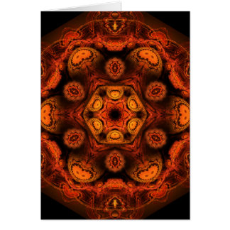 Fiery mushroom kaleidoscope greeting card