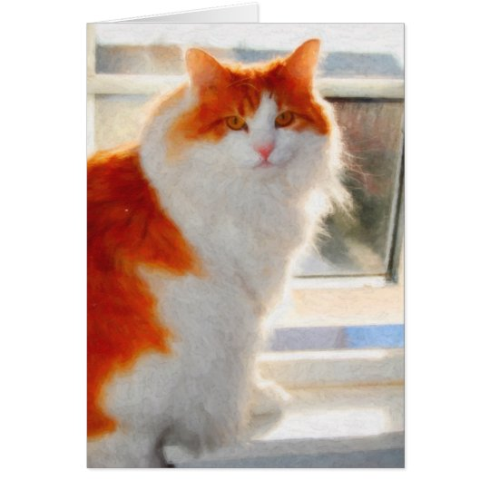 Fiery Norwegian Forest Cat Note Card