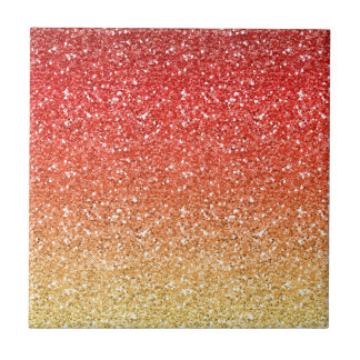 Fiery Ombre with Glitter Effect Small Square Tile