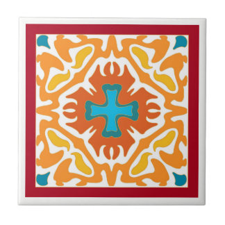Fiery Orange Abstract with Blue Accents Tile