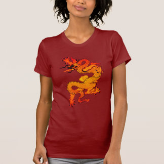 Fiery Orange and Red Dragon Art T-Shirt
