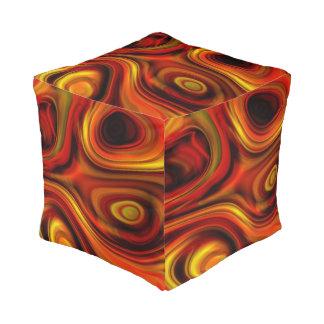 Fiery Orange and Yellow Pattern Pouf