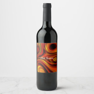 Fiery Orange and Yellow Pattern Wine Label