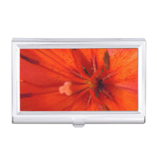 Fiery Orange & Red Lily II Business Card Holder
