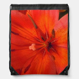 Fiery Orange & Red Lily II Drawstring Bag