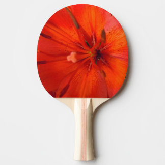 Fiery Orange & Red Lily II Ping Pong Paddle